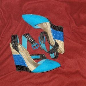 ALDO blue color block ankle strap heels wedges